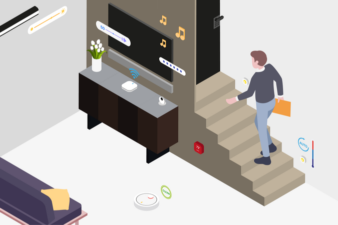 Smart Living Room Illustration