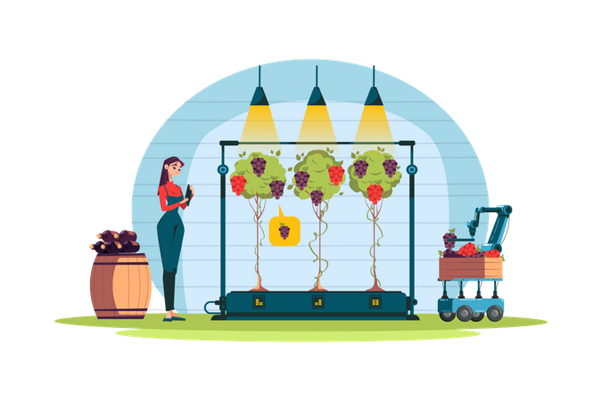 Smart nutrition measuring equipment used for agricultural purpose Illustration