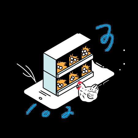 Smart poultry management system Illustration