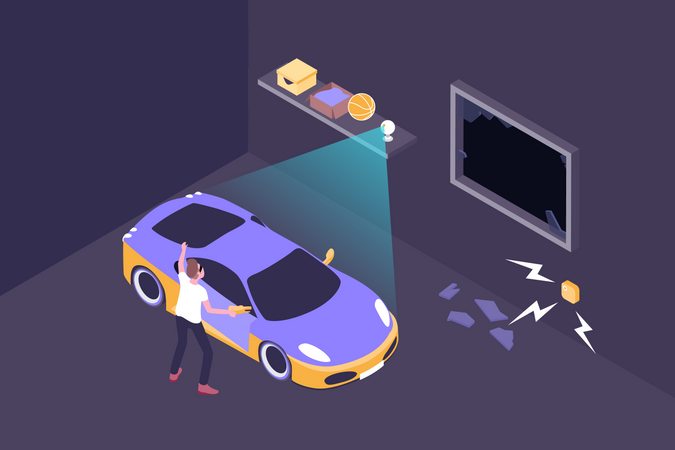 Smart security alarm ringing when thief stealing car Illustration