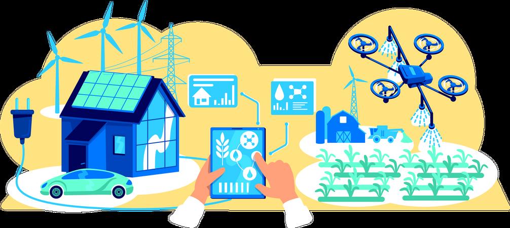 Smart technology for farming Illustration