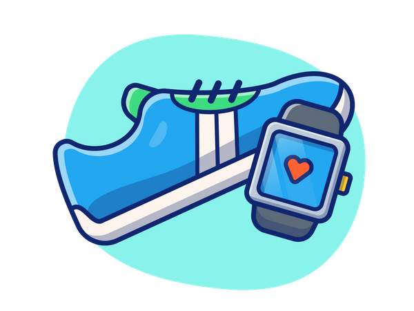 Smart watch and sport shoes Illustration