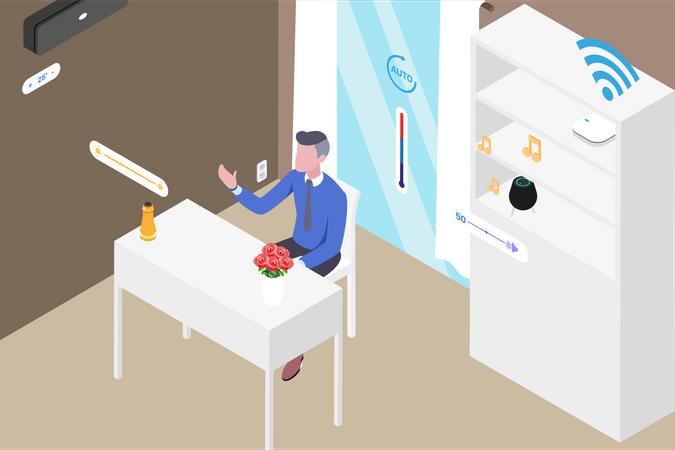 Smart Workspace Room Illustration
