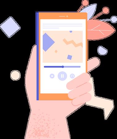 Smartphone playing music Illustration