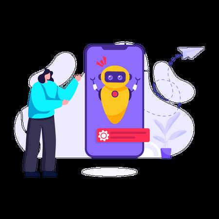 Smartphone Robot Illustration