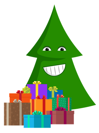 Smiling cartoon Christmas tree with gift boxes Illustration
