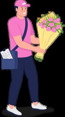 Smiling Caucasian courier with bouquet Illustration