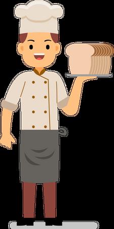 Smiling chef holding bread Illustration