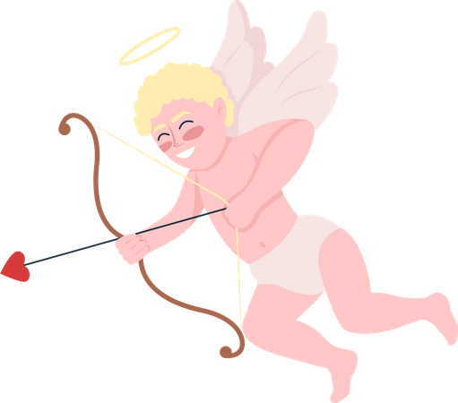 Smiling cupid with bow and arrows Illustration