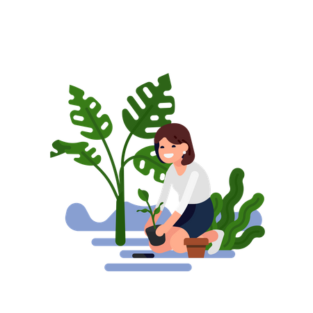Smiling happy woman in white shirt and skirt planting a small sprout with leave into the ground Illustration