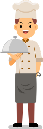Smiling male chef serving main course dish Illustration