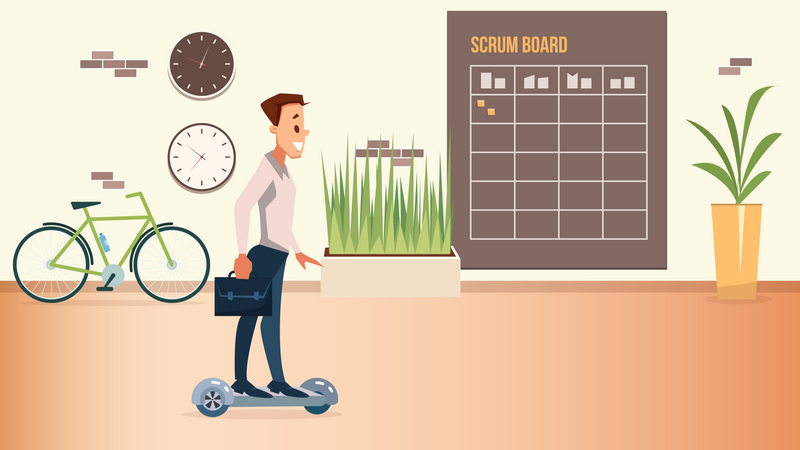 Smiling Office Worker in Suit Move on Hover Board Illustration