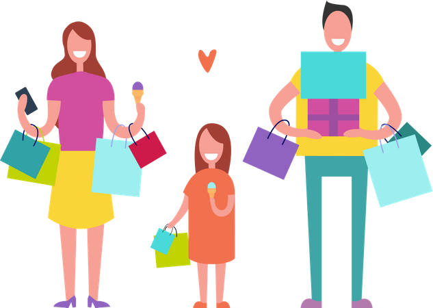 Smiling People Making Holiday Purchases Illustration