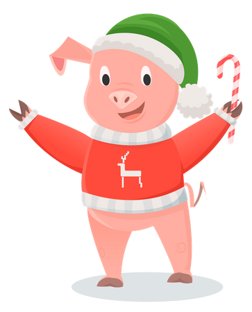 Smiling pig in red jersey holding candy stick Illustration