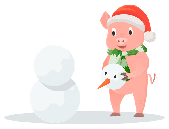 Smiling pig making a snowman Illustration