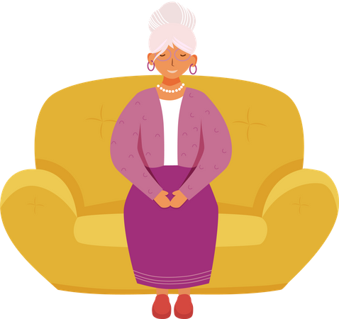 Smiling senior woman Illustration