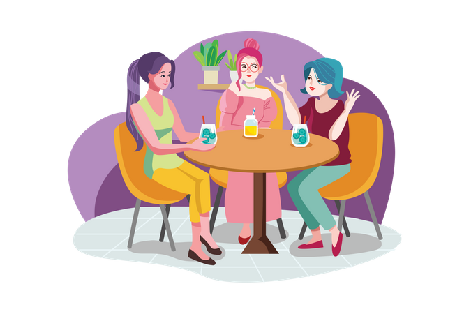 Smiling woman friends meeting and talking in the cafe Illustration