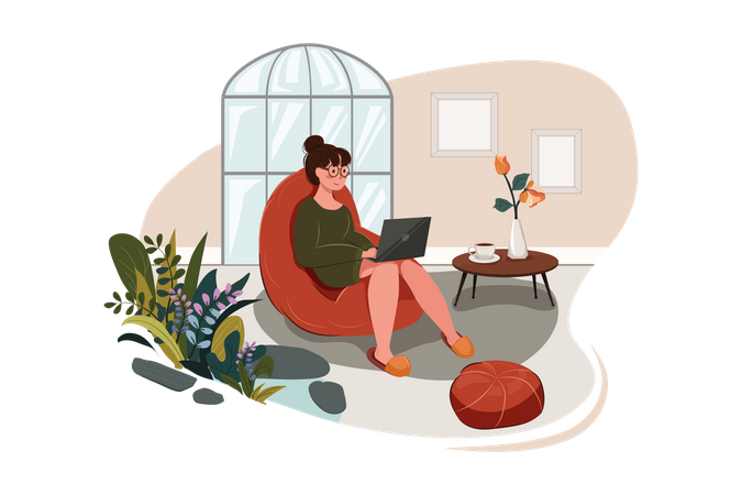 Smiling young woman using a laptop and making a video call at home Illustration
