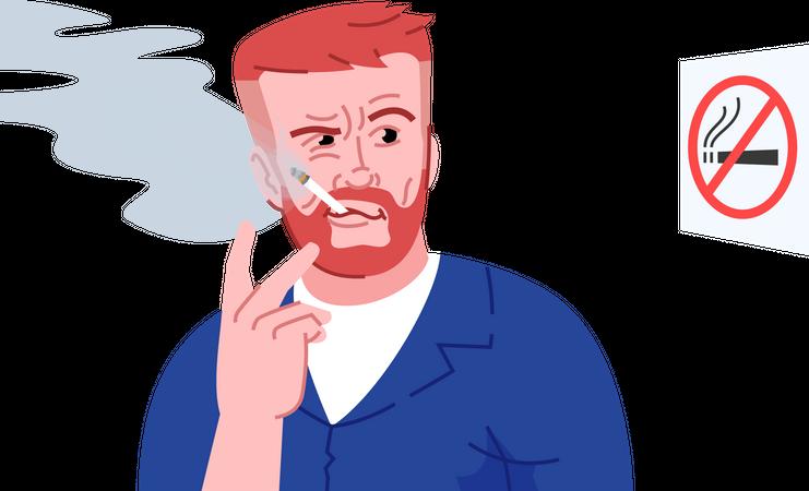 Smoke addicted person Illustration