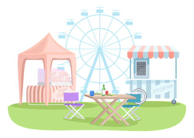 Snack stalls Illustration