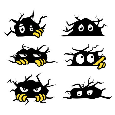 Sneaky Eyes In Cracking Wall Cartoon Illustration