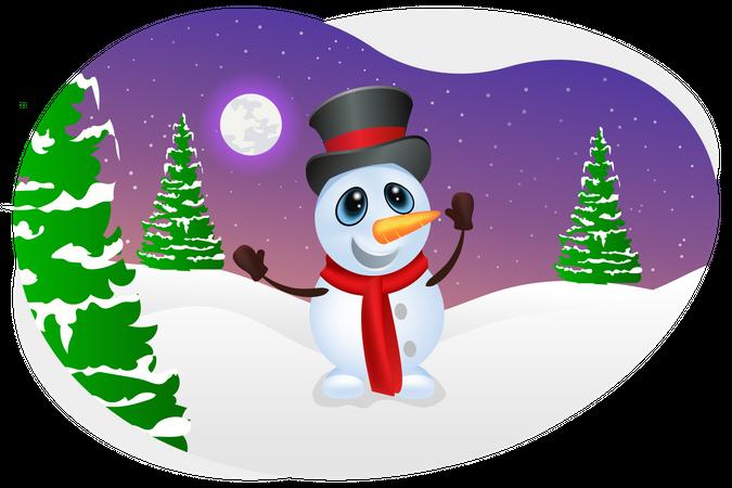 Snowman enjoying snowfall Illustration