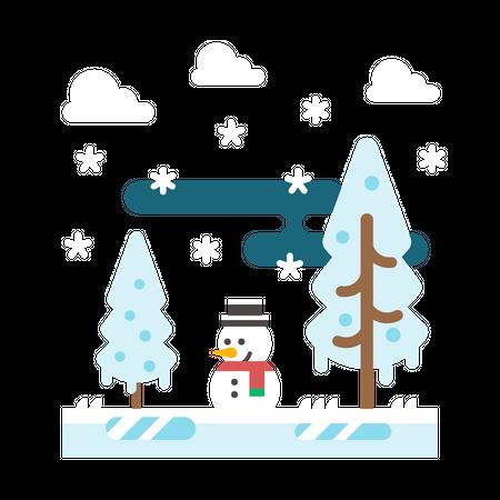 Snowy weather Illustration