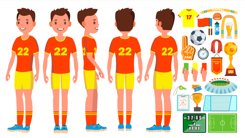Soccer Player With Different Objects Illustration