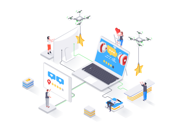 Social content production, network communication, internet posting and messaging Illustration