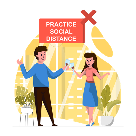 Social Distance Illustration
