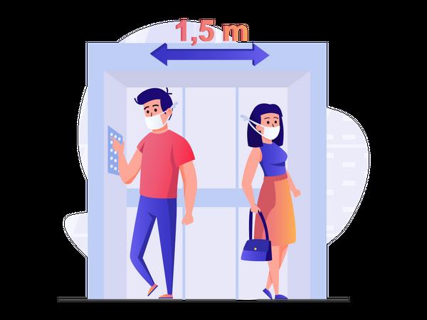 Social distance in elevator Illustration