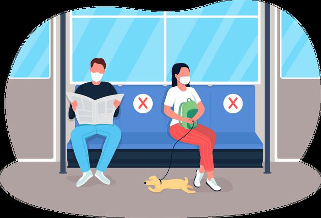 Social distance in travel Illustration