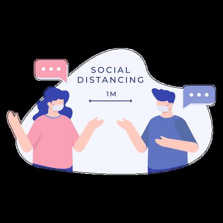 Social Distancing Illustration
