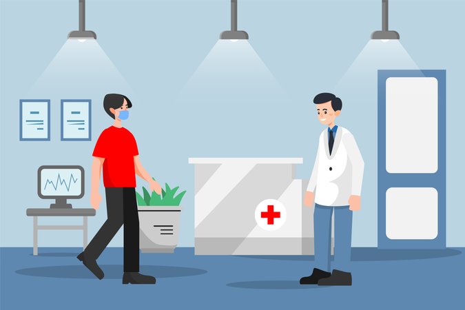 Social distancing and Wearing Mask example while in hospital Illustration