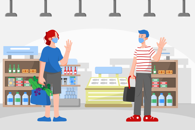 Social distancing and Wearing Mask example while in market or Mall Illustration