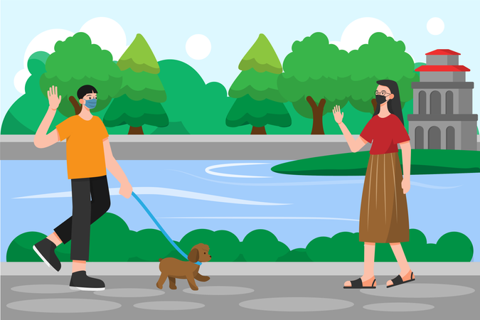 Social distancing and Wearing Mask example while walking on street to avoid spreading corona virus Illustration