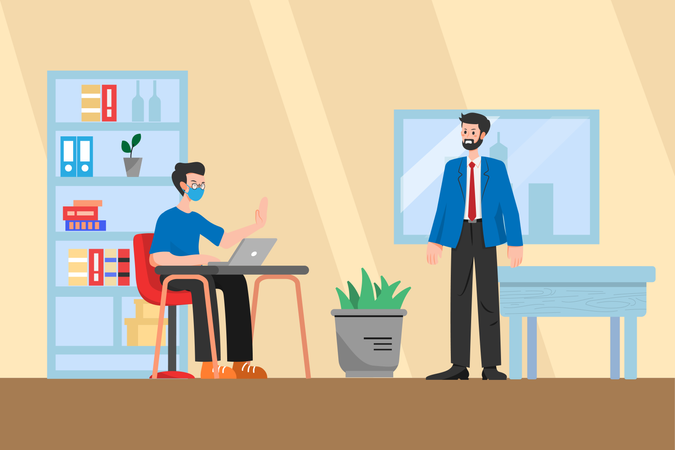Social distancing and Wearing Mask in Office Illustration