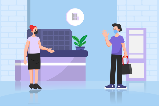 Social distancing and Wearing Mask in Residential Apartment Illustration