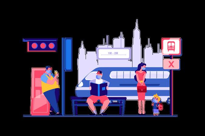 Social distancing at metro station Illustration
