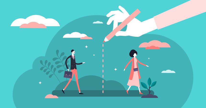Social distancing concept Illustration