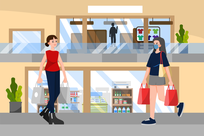 Social distancing concept in shopping in mall Illustration
