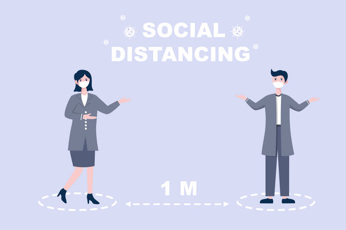 Social Distancing to Prevent Disease Illustration