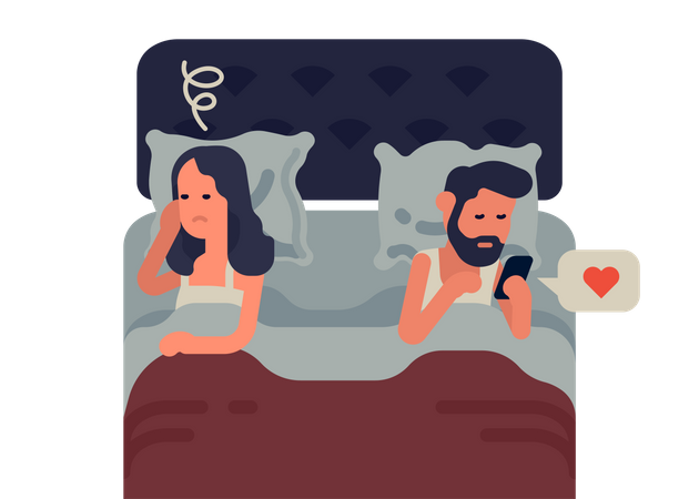 Social media addiction impact on marriage and relationship Illustration