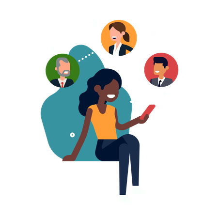 Social media and connectivity with African woman Illustration