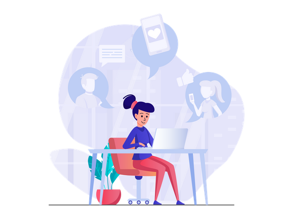 Social Media Chatting Illustration