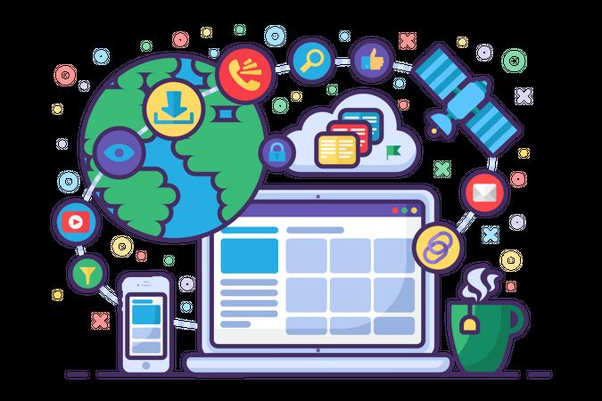 Social media communication Illustration