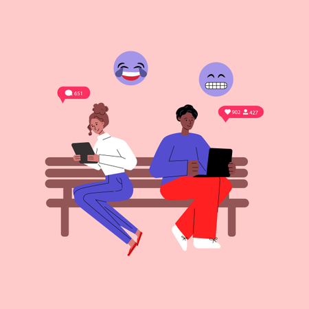 Social media communication concept with diverse people cartoon characters messaging via mobile gadgets Illustration