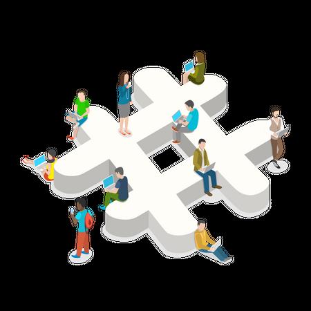 Social media community Illustration
