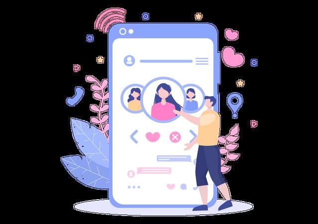 Social media dating Illustration