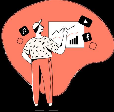 Social media impact on sales Illustration